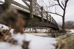 Puente de madera sobre el río Nevado foto de archivo