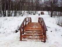 Puente de madera a través del río y de una escalera de madera Fotos de archivo