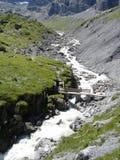 Puente de madera y Alpine Creek Imagenes de archivo