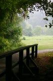 Puente de madera y camino Imágenes de archivo libres de regalías