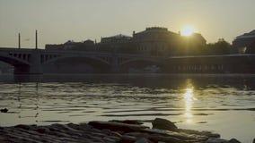 Puente de Manesov en Praga almacen de video