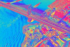 Puente de Manhattan sobre el East River en Nueva York ilustración del vector