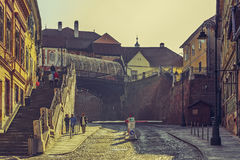 Puente de mentiras, Sibiu, Rumania Imagen de archivo libre de regalías