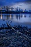 Puente de Midland sobre el río Arkansas en el crepúsculo fotografía de archivo libre de regalías