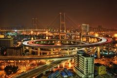 Puente de Nanpu del horizonte de Shangai fotografía de archivo