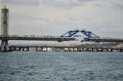 Puente de oro del metro del cuerno bajo construcción, Estambul, Turquía Imágenes de archivo libres de regalías
