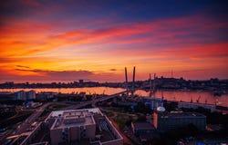 Puente de oro en Vladivostok Foto de archivo libre de regalías