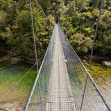 Puente de oscilación sobre el río verde Nueva Zelanda de la selva Imágenes de archivo libres de regalías