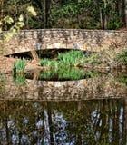 Puente de piedra en los jardines botánicos Foto de archivo
