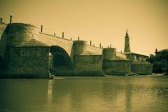 Puente de Piedra. Imitation of old image Royalty Free Stock Photo