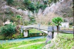 Puente de piedra viejo sobre el río en el fondo de la naturaleza hermosa imagenes de archivo
