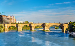 Puente de Piedra in Zaragoza, Spain Stock Photo