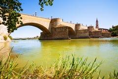 Puente de Piedra at Zaragoza in sunny day Stock Image