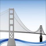Puente de puerta de oro con las ondas abajo Imágenes de archivo libres de regalías