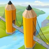 Puente de puerta de oro del lápiz de los niños Foto de archivo libre de regalías