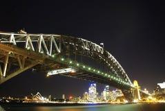 Puente de puerto de Sydney del tiro de la noche Fotografía de archivo