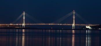 Puente de Russkiy visto de Mayak Fotos de archivo libres de regalías