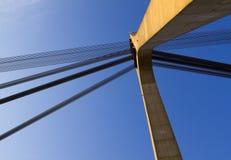 Puente de suspensión con los cables Fotos de archivo libres de regalías