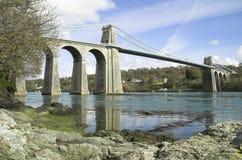 Puente de suspensión de Menai Fotos de archivo libres de regalías