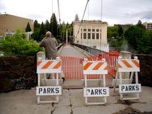 Puente de suspensión de Spokane cerrado Fotos de archivo