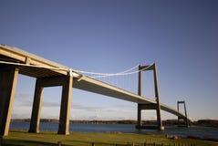 Puente de suspensión en Dinamarca imagenes de archivo