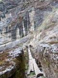 Puente de suspensión en Langtang Foto de archivo