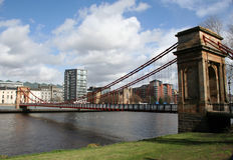 Puente de suspensión, río Clyde Foto de archivo