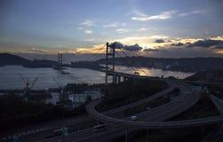 Puente de Tsing mA en Hong-Kong Imagenes de archivo