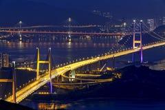 Puente de Tsing mA en la noche Fotografía de archivo libre de regalías