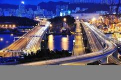 Puente de Tsing Yi en la escena de la noche Imágenes de archivo libres de regalías