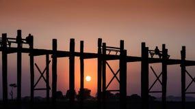 Puente de U Bein, Myanmar Foto de archivo libre de regalías