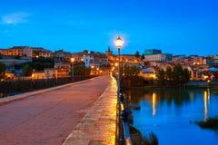 Puente de Zamora Puente de Piedra en Duero Fotos de archivo libres de regalías
