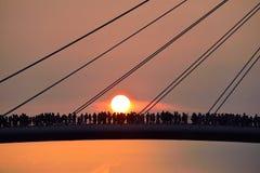 Puente del amante del pescador Wharf, puesta del sol Imagen de archivo libre de regalías