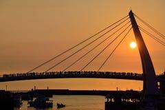Puente del amante del pescador Wharf, puesta del sol Fotos de archivo