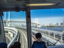 Puente del arco iris, línea de Yurikamome, Tokio, Japón fotografía de archivo libre de regalías