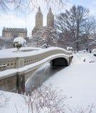Puente del arqueamiento después de la tormenta de la nieve Fotos de archivo