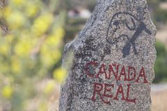 Puente del Congosto, Salamanca. Province, Spain: June 7, 2019: Signposting of Cañada Real in Spain. This is defined as those paths traditionally used in stock photo