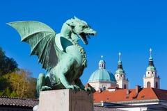 Puente del dragón, Ljubljana, Eslovenia, Europa Foto de archivo