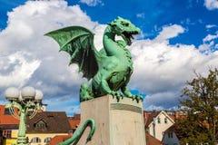 Puente del dragón en Ljubljana Fotos de archivo