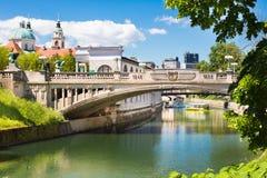 Puente del dragón en Ljubljana, Eslovenia, Europa Imagen de archivo