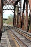 Puente del ferrocarril sobre el agua en otoño Fotografía de archivo libre de regalías