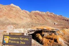Puente Del Inca, Inkas überbrücken Naturdenkmal, Mendoza, Argentinien Stockfoto