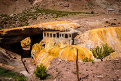 Puente del Inca. Natural bridge and thermal hotel ruins on Puente del Inca, near the entrance to Aconcagua Provincial Park, Mendoza, Argentina Royalty Free Stock Photos