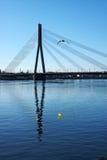 Puente del individuo sobre el río Imagen de archivo libre de regalías