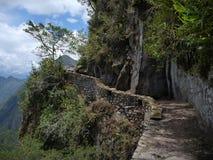 Puente del inka en el picchu del machu Imágenes de archivo libres de regalías