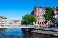 Puente del león y canal de Griboyedov fotografía de archivo libre de regalías