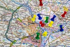 Puente del mapa del viaje del Washington DC imagen de archivo