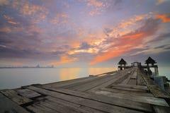Puente del mar de Tailandia viejo Fotos de archivo