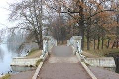Puente del metal en el lago blanco fotografía de archivo
