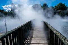 Puente del parque de Kuirau Imagen de archivo libre de regalías